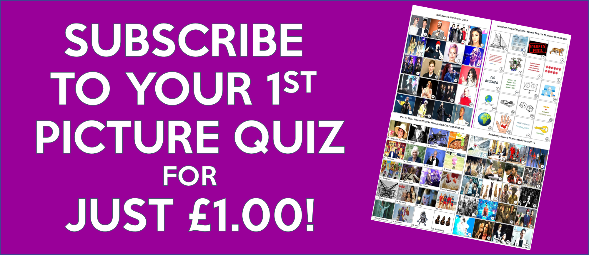 20 Picture Quizzes - Pay Monthly