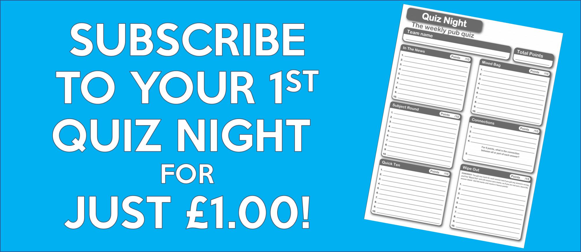 Quiz Night - Pay Monthly
