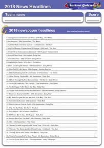 2018 News Headlines Quiz 2