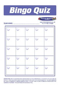 Quiz Bingo answer sheets only