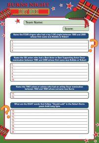 Burns Night List Quiz - BURNSLIST