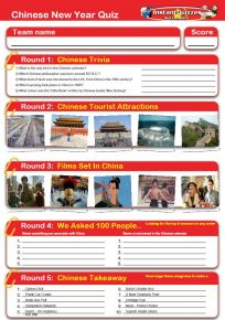 Chinese New Year Handout Quiz