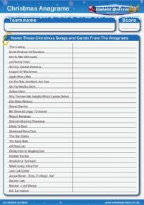 Christmas Carols and Songs Anagrams Handout Quiz