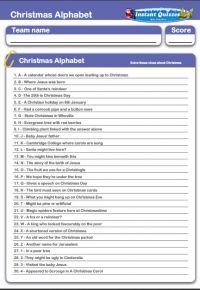 Children's Christmas Alphabet Handout Quiz