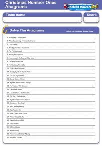 Christmas Number Ones Anagrams Handout Quiz