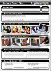 James Bond handout quiz