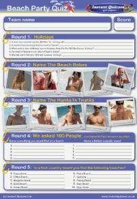 Beach party handout quiz