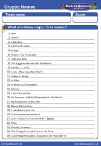 Cryptic Names Handout Quiz