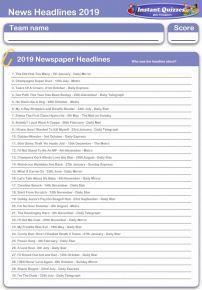 News Headlines 2019 Handout Quiz