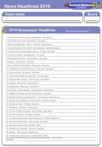 News Headlines 2019 Handout Quiz 2