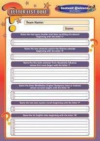 Handout Quiz 211 - Letter List Quiz