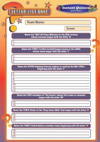 Handout Quiz 214 - Letter List Quiz