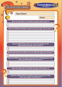 Handout Quiz 221 - Letter List Quiz