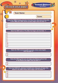 Handout Quiz 223 - Letter List Quiz