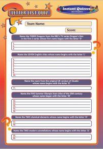 Handout Quiz 225 - Letter List Quiz