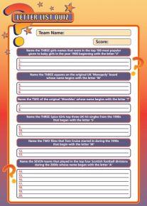 Handout Quiz 227 - Letter List Quiz