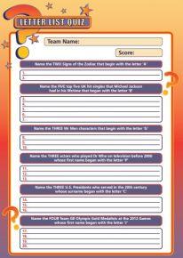 Handout Quiz 229 - Letter List Quiz