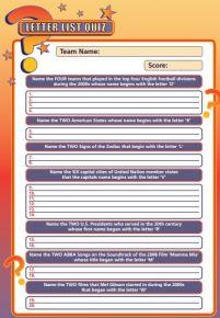 Handout Quiz 238 - Letter List Quiz