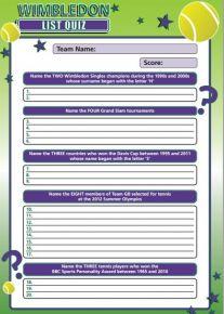 Wimbledon Letter List Quiz