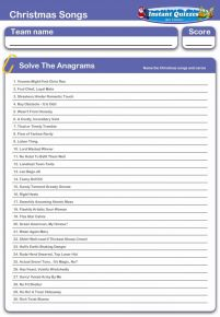 Christmas Songs and Carols Anagrams Handout Quiz - H257