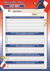Bastille Day Letter List Quiz