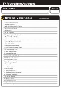 TV Programmes Anagrams Handout Quiz