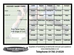 40 Square Hockey Scratchcards