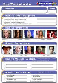 Royal Wedding Handout Quiz
