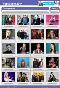 Pop Music of 2014 Picture Quiz - PR1417
