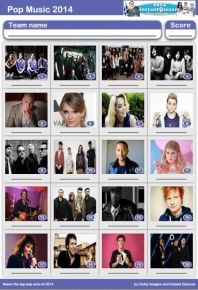 Pop Music of 2014 Picture Quiz - PR1418