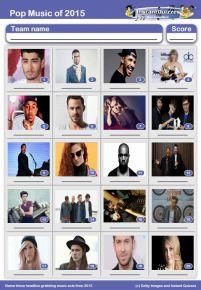 Pop Music of 2015 picture quiz - PR1522