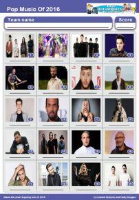 Pop Music of 2016 Picture Quiz - PR1641