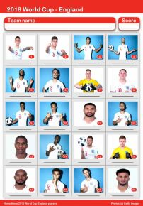 2018 England World Cup Players Picture Quiz - PR1842
