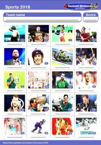 Sporting Faces 2018 Picture Quiz - PR1914