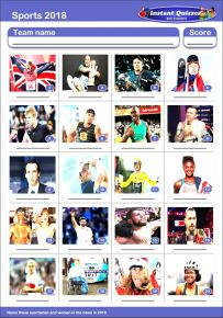 Sporting Faces 2018 Picture Quiz - PR1915