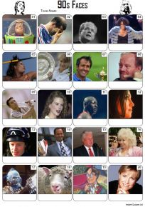 Faces of the 1990s Picture Quiz - PR2229