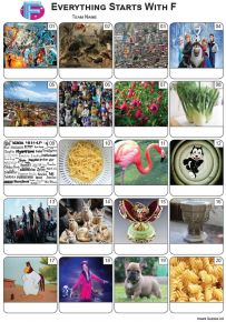 Everything Starts With 'F' Picture Quiz - PR2246