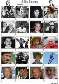 Faces of the 1980s Picture Quiz - PR2253