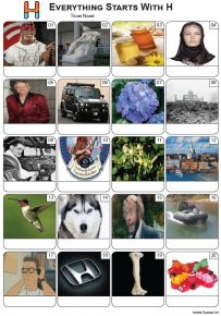 Everything Starts With 'H' Picture Quiz - PR2269