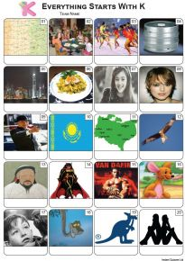 Everything Starts With 'K' Picture Quiz - PR2303