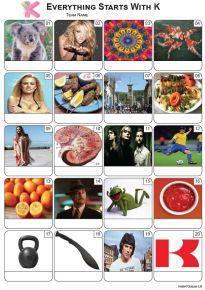 Everything Starts With 'K' Picture Quiz - PR2304