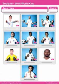 2018 World Cup England Squad Mini Picture Quiz - Z2755