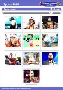 Sporting Faces 2018 Mini Picture Quiz - Z2900