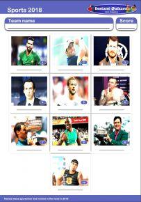 Sporting Faces 2018 Mini Picture Quiz - Z2902