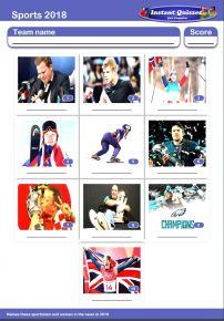 Sporting Faces 2018 Mini Picture Quiz - Z2903