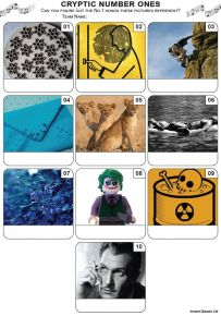 Cryptic Number Ones Mini Picture Quiz - Z3470