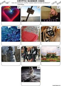 Cryptic Number Ones Mini Picture Quiz - Z3473