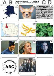 Alphabetical Order Picture Quiz - Z3479