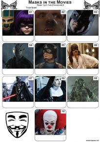 Masks In The Movies Mini Picture Quiz - Z3488