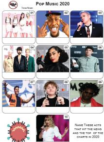 Pop Music 2020 - Mini PIcture Quiz Z3533